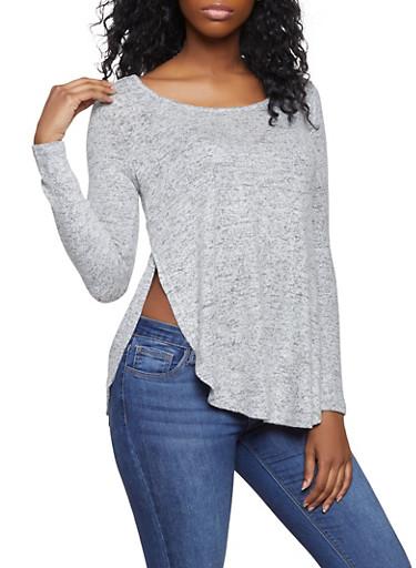 Side Slit Brushed Knit Sweater,HEATHER,large