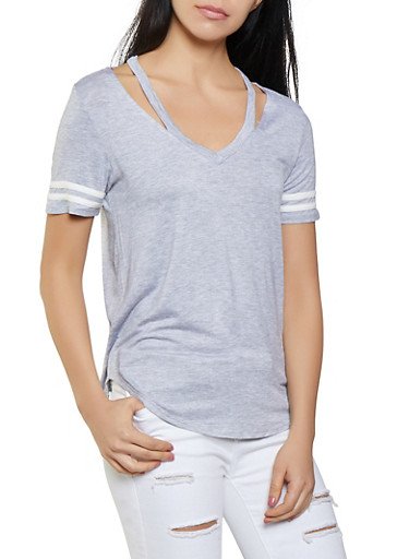 Soft Knit Cut Out Neckline Tee,HEATHER,large