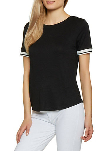 Rib Knit Trim Tee,BLACK,large