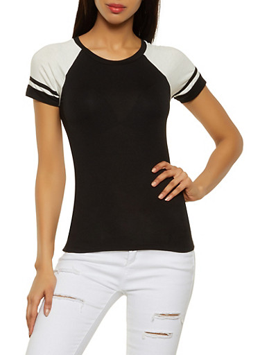Color Block Baseball Tee,BLACK/WHITE,large
