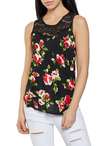 Lace Yoke Floral Tank Top,BLACK,large