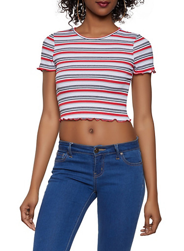 Lettuce Edge Striped Crop Top,GRAY,large