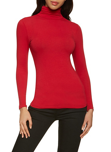Ruched Long Sleeve Turtleneck Top,RED,large