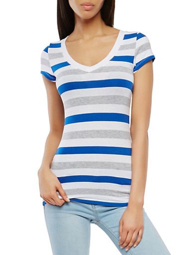 Striped V Neck Tee,RYL BLUE,large