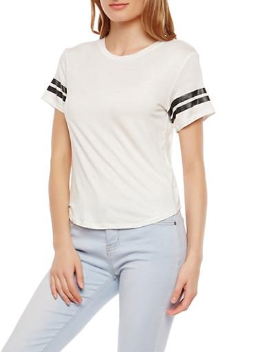 Athletic Stripe T Shirt,WHITE,large