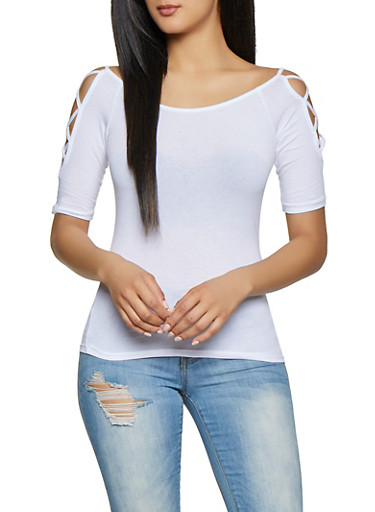Caged Sleeve Off the Shoulder Tee,WHITE,large