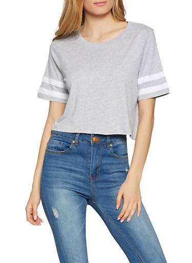 Varsity Stripe Cropped Tee,HEATHER,large