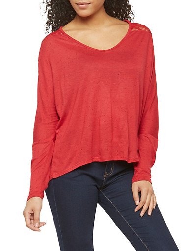 Lace Back Speckled Basic Top,RED,large