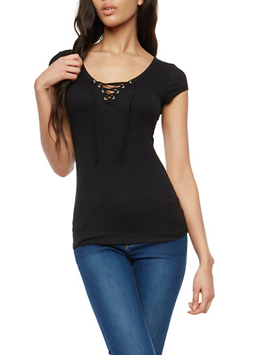 Ribbed Knit Lace Up Basic Top,BLACK,large