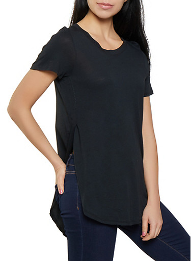 Side Slit Round Hem Tee,BLACK,large