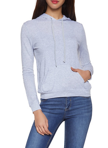 Hooded Long Sleeve Top,HEATHER,large