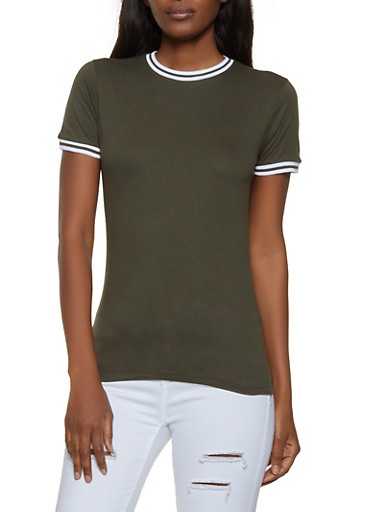 Ribbed Knit Trim Tee,OLIVE,large