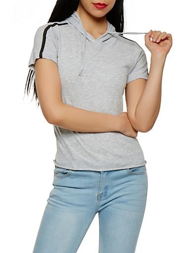 Hooded Varsity Stripe Tee,HEATHER,large