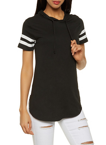 Varsity Stripe Hooded Tunic Tee,BLACK,large