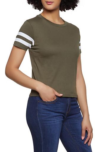 Varsity Stripe Tee | 1013033879521,OLIVE,large