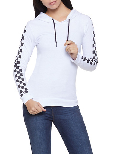 Checkered Sleeve Lightweight Sweatshirt,WHITE,large