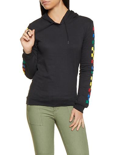 Checkered Sleeve Hooded Sweatshirt,BLACK,large