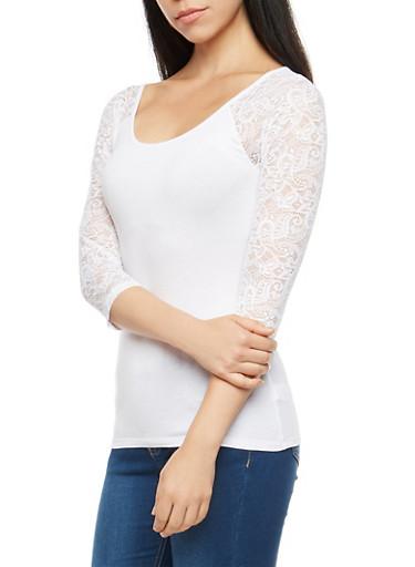 Lace Sleeve Basic Top,WHITE,large