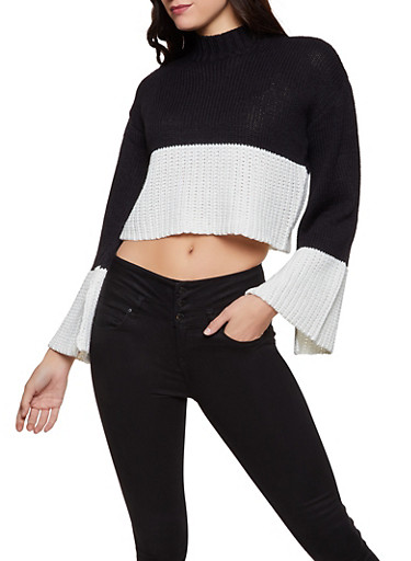 Color Block Bell Sleeve Sweater,BLACK/WHITE,large