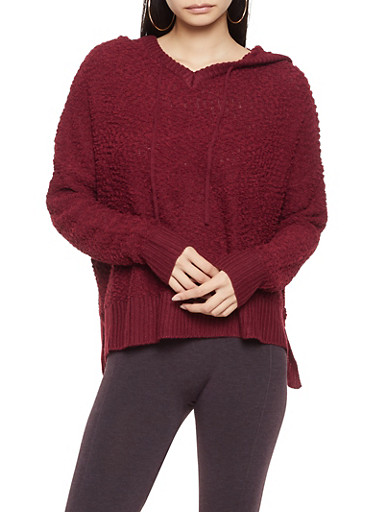 Textured Knit Hooded Sweater,WINE,large