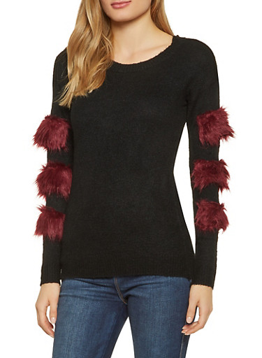Faux Fur Trim Sweater,BLACK,large