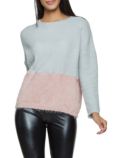 Feathered Knit Color Block Sweater,HEATHER,large