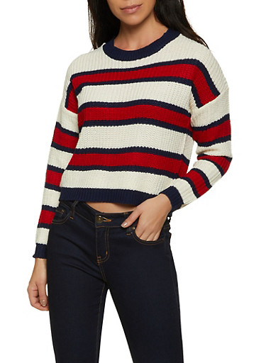 Striped Knit Long Sleeve Sweater,IVORY,large