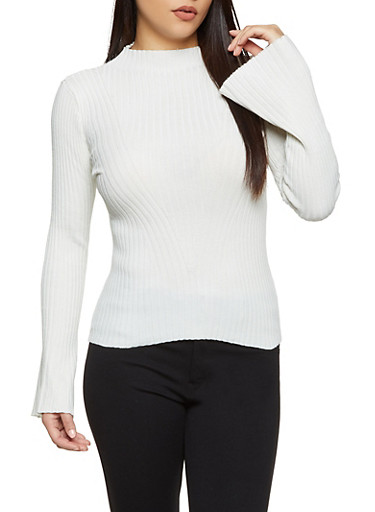 Bell Sleeve Ribbed Knit Sweater,IVORY,large