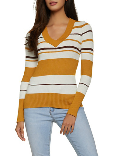 Long Sleeve Striped Rib Knit Sweater,BROWN,large