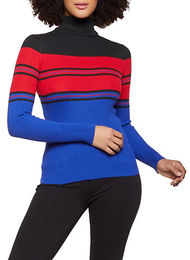 Long Sleeve Striped Turtleneck Sweater,BLACK,large