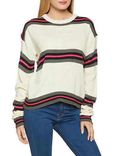 Striped Long Sleeve Crew Neck Sweater,IVORY,large