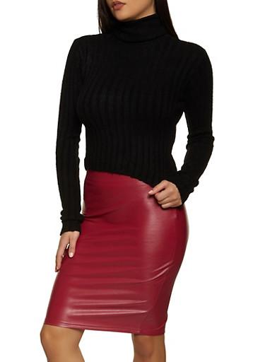 Cropped Rib Knit Turtleneck Sweater,BLACK,large