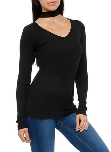 Rib Knit Choker Neck Sweater,BLACK,large
