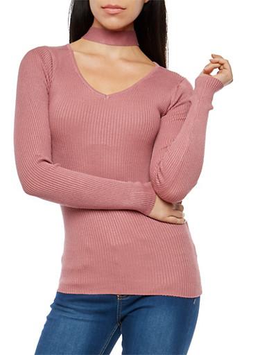 Rib Knit Choker Neck Sweater,MESA ROSE,large