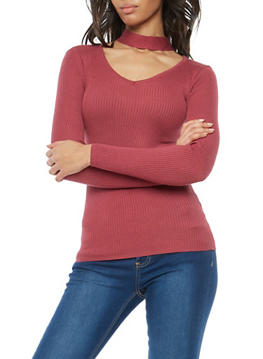 Ribbed Knit Choker Neck Sweater,DRY ROSE,large