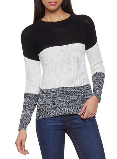 Color Block Sweater,BLACK/WHITE,large