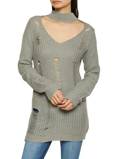 Distressed Keyhole Tunic Sweater,HEATHER,large