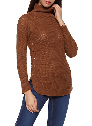 Lace Up Turtleneck Sweater,BROWN,large