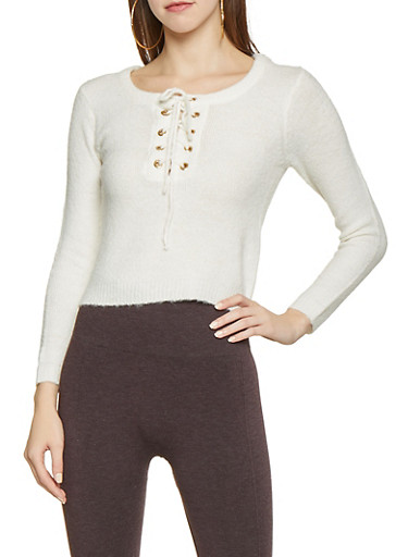Lace Up Cropped Sweater,IVORY,large