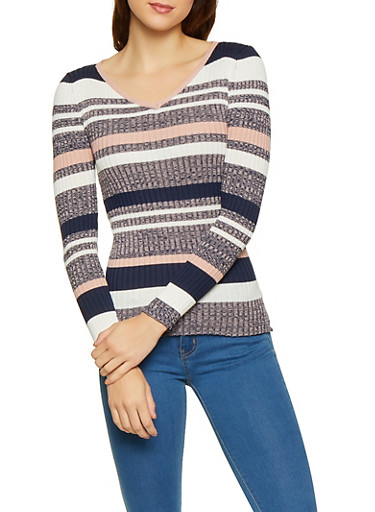 Striped Rib Knit Sweater,NAVY,large