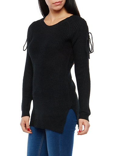 Tunic Sweater with Lace Up Shoulder Details,BLACK,large