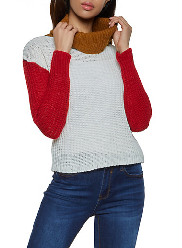 Color Block Turtleneck Sweater,IVORY,large