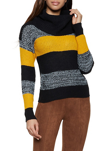 Cowl Neck Striped Sweater,BLACK,large
