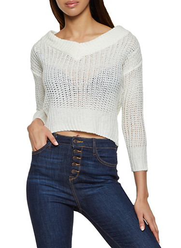 V Neck Pointelle Sweater,IVORY,large