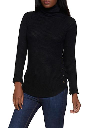 Lace Up Side Mock Neck Sweater,BLACK,large