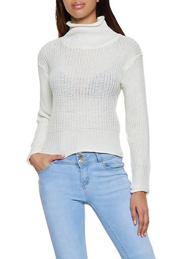 Pointelle Mock Neck Sweater,IVORY,large