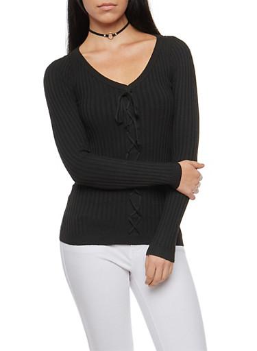 Rib Knit Faux Lace Up Sweater,BLACK,large