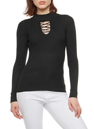Ribbed Knit Criss Cross Keyhole Sweater,BLACK,large