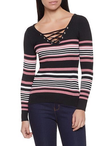 Striped Lace Up Sweater,WINE,large