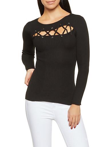 Rib Knit Keyhole Sweater,BLACK,large